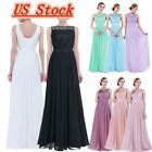 US Womens Chiffon Formal Gown Dress Long Prom Cocktail Party Bridesmaid Wedding