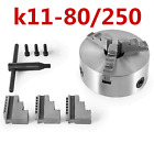 3 Jaw K11-80/250 Lathe Chuck Hard Jaw Self Centering Reversible Hardened Steel