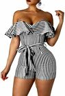 Bigyonger Womens Striped Off Shoulder Ruffle Bodycon Short Pants Jumpsuits Rompe