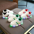 1-6T Toddler Kids Children Baby Striped Shoes LED Light Up Luminous Sneakers XIU