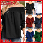 Kyпить Womens Off Shoulder Tops Ladies Back Bowknot Blouse 3/4 Sleeve T Shirt Loose Tee на еВаy.соm