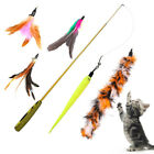 UK_ EE_ Funny Cat / Kitten Pet Teaser Feather Wire Chaser Pet Toy Wand Beads Pla
