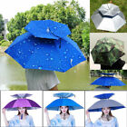 Outdoor Foldable Sun Rain Umbrella Hat Fishing Camping Headwear Cap Head Hats US