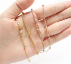 "18k Gold Stainless Steel Station Bead Ball Snake Chain Choker Necklace 18"" Pe44"