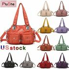 Angelkiss Brand Women's Soft Washed PU Leather Handbag Purse Gift Shoulder Bags