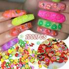 1000x 3d Fruit Animals Flower Fimo Slice Clay Diy Nail Art Tips Sticker Decal Us