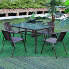 3/5/7pcs Table And Chairs Set Outdoor Garden Patio Furniture With Umbrella Hole