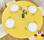 Vinyl Tablecloth Round Fitted Elastic Flannel Backed, Checkerboard, 36-56 Inch