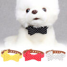 Necklace Adjustable Dog Collar Decorative Gift Wave Point Bow Tie Leather Padded