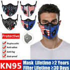 American Flag Face Mask Double Air Purifying Valve Carbon Filter Pad Respirator