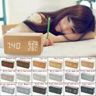 Well Multifunction Digital LED Wood Alarm Clock Voice Control Timer Thermometer