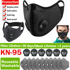 Reusable Washable Breathing Valve Face Mask W/ Activated Carbon Filter Pad Mask