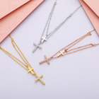 "Solid Sterling Silver 925 Clear Cz Cross Layering Pendant Necklace 18"" Box Pe55"