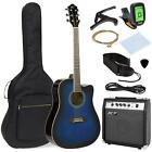 Acoustic Electric Guitar Set Full Size Amp Capo E-Tuner with Case Blue Cutaway