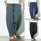 Men's Harem Pants Cropped Trousers Saggy Pocket Summer Chinese Style Bottoms