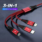 Внешний вид - 3 IN 1 Cable Fast Charging Sync Data 8-Pin Micro USB Type C for iPhone Samsung