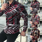 Mens Casual Slim Button-Down Shirt Long Sleeve Lapel Floral Print Tops Blouse