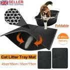 Cat Litter Catcher Tray Mat leather Two Layers Kitten Scatter Control Paw Clean'