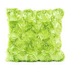 LT_ JW_ Stylish Satin Rose Flower Cushion Cover Throw Pillow Case Home Sofa Be