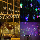 Star Curtain Lights Fairy String Lights 12 Stars 138LED Window Curtain Light New