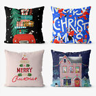 Merry Christmas Fantasy 4 Pieces Two Sides Printed Throw Pillow Case Cover