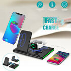 4in1 Qi Wireless Charger Station Charging Dock Stand for iWatch Air Pods iPhone
