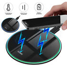 LED 15W QI Fast Charging Pad Wireless Cell Phone Charger Dock for Samsung iPhone