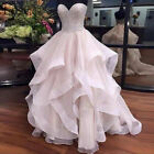 Pink Wedding Dresses Sweet Beaded Top Ruffles Bridal Gowns Strapless Sweet Girls