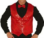 Mens Red Sparkly Sequin Waistcoat Christmas Disco Party Xmas Fancy Dress Costume