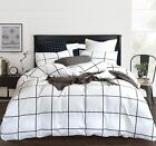 CLOTHKNOW Black White Duvet Cover Sets King Cotton Grid Bedding Sets King Checke