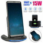 70° Wireless LED Fast Charger 15W Charging Dock Stand Station for iPhone Samsung