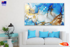 Blue White & Gold Abstract Design Wall Canvas Home Decor Australian Made Quality