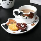 Ceramic Mug Set With Tray Coffee Handgrip Animal Cute Cat Mugs Drinkware Tea Cup