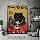 Love Vintage Cat Poster Strong Rick Black Cat Coffee Co Serve Wall Decor Gift