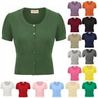 Party Shrug Tops Formal Knitted Solid Summer Womens Ladies Button placket
