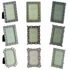 Sixtrees 3x2inch Vintage Ornate Silver Metal Photo Frames Clear Blue Pink Purple