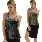 Tops Holiday Beauty Girls Summer Spaghetti Straps V-Neck Sequined Cami