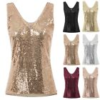 Tops Blouse Casual Sequins Top Sleeveless V-Neck Side Split Sexy Lady Women