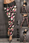 Trousers Jeans Black Woman Floral Denim Cotton Skinny Stretch New