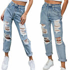 Women Ripped Straight Jeans Stretchy Jeggings Denim Pants Trousers Bottoms S-2XL
