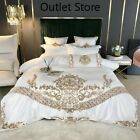 Silk Cotton Bedding Set Chic Golden Embroidery Bed Set Duvt Cover Bed Sheet Set