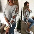1 Pc Women Autumn Bow Hollow Out Long Sleeve Warm Sweater Pullover Fashion Casua
