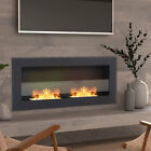 35/47'' Bio Ethanol Fireplace Stainless Steel Glass Fire Heater Flame Adjustable