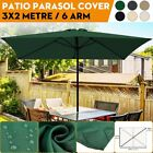 Parasol Canopy Top Cover Ribs Patio Umbrella Sunshade Replacement 10ft x 6.6ft 6