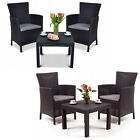 Set Of Garden Furniture 2x Armchair + Table Outdoor Cushions Patio Balcony Solid