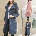 Women Teddy Bear Fleece Coat Faux Fur Fluffy Winter Jacket Long Overcoat Outwear