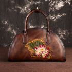 Women Retro 100 Genuine Leather Handbags Embossed Lotus Shoulder Shell Bag Tote