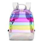 Rainbow Backpacks PVC Transparent School Bag Bookbag Travel Bag for Boys Girls