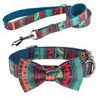XS-L Bow Tie Personalized Dog Collar And Leash Set Engraved Name ID Tag Girl Boy