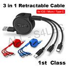 3 in 1 Retractable Fast Charging USB Cable Charger Phone USB-C Micro...